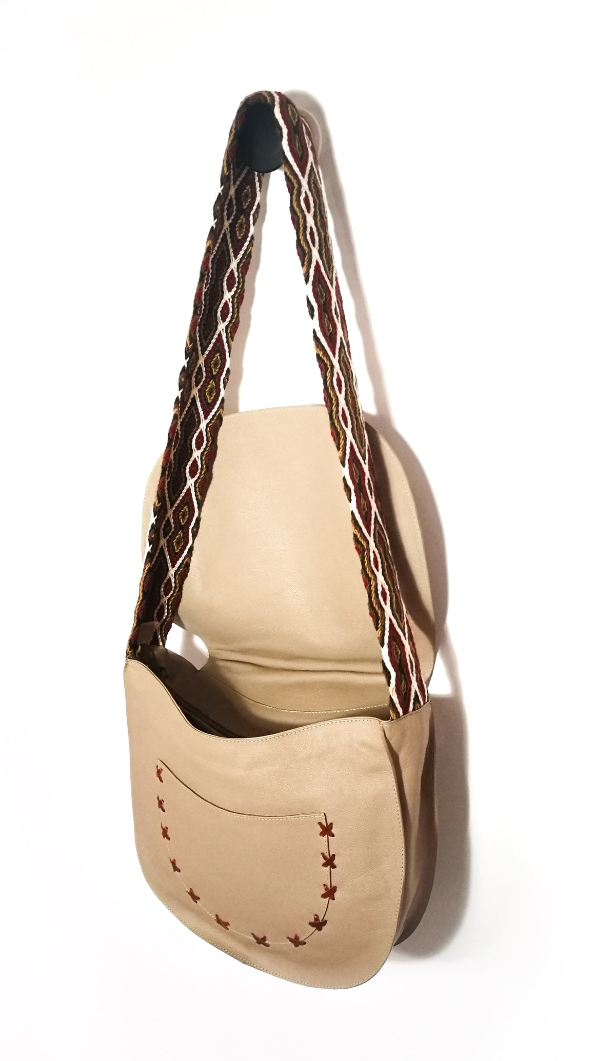 LEATHER AND MOCHILA STRAP CARRIEL ( NATURAL )