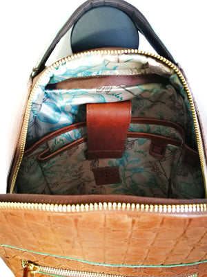 Leather Backpack (MORRAL FLORAL)-BACKPACKS-Colombian Label Co.