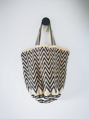 Boho Style Mochila Beach Bag Chevron (PLAYA)-Beach Bags-Colombian Label Co.