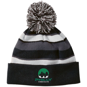 PCE Embroidered Striped Beanie with Pom