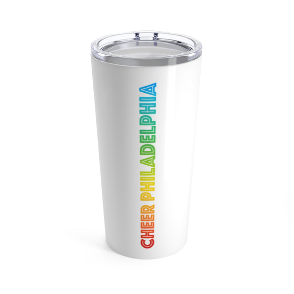 White Cheer Philadelphia Rainbow Logo Tumbler 20oz
