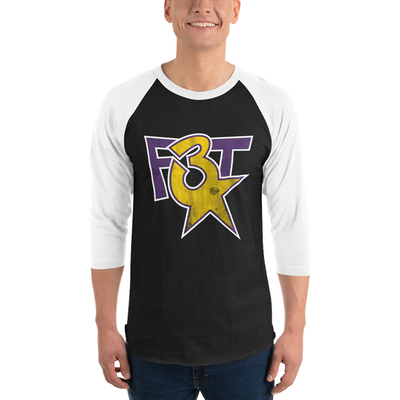 F3T Distressed Logo 3/4 sleeve raglan shirt