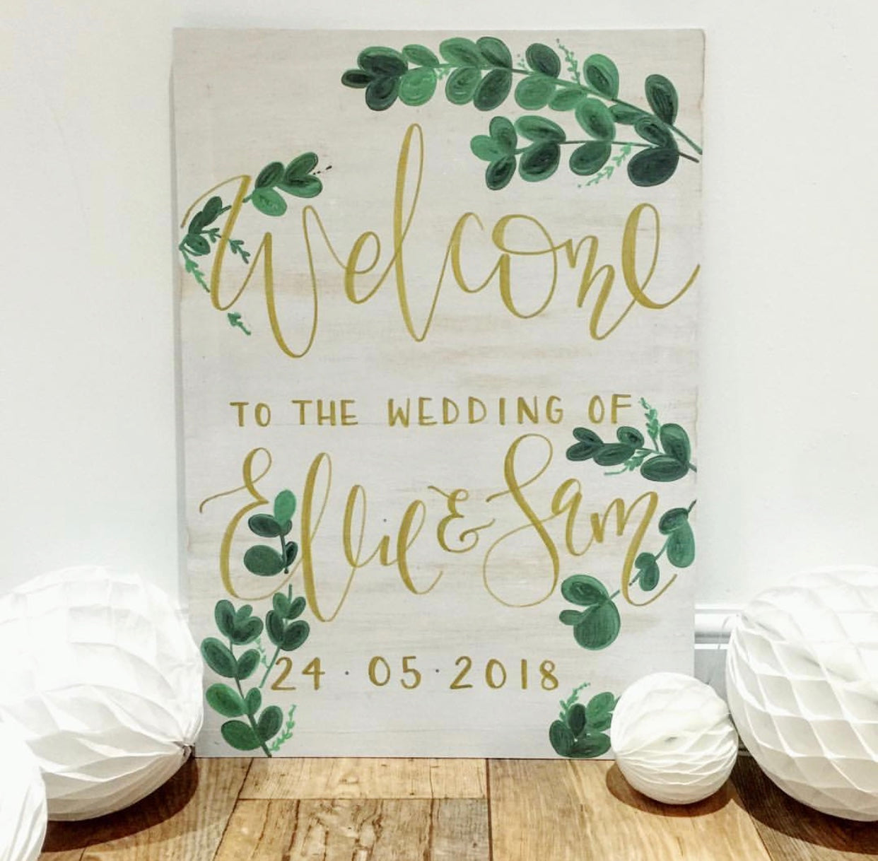 Personalised Whitewash Eucalyptus Welcome Sign