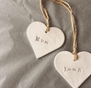 Personalised Clay Hanging Heart
