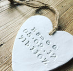 Large Personalised New Baby Clay Heart