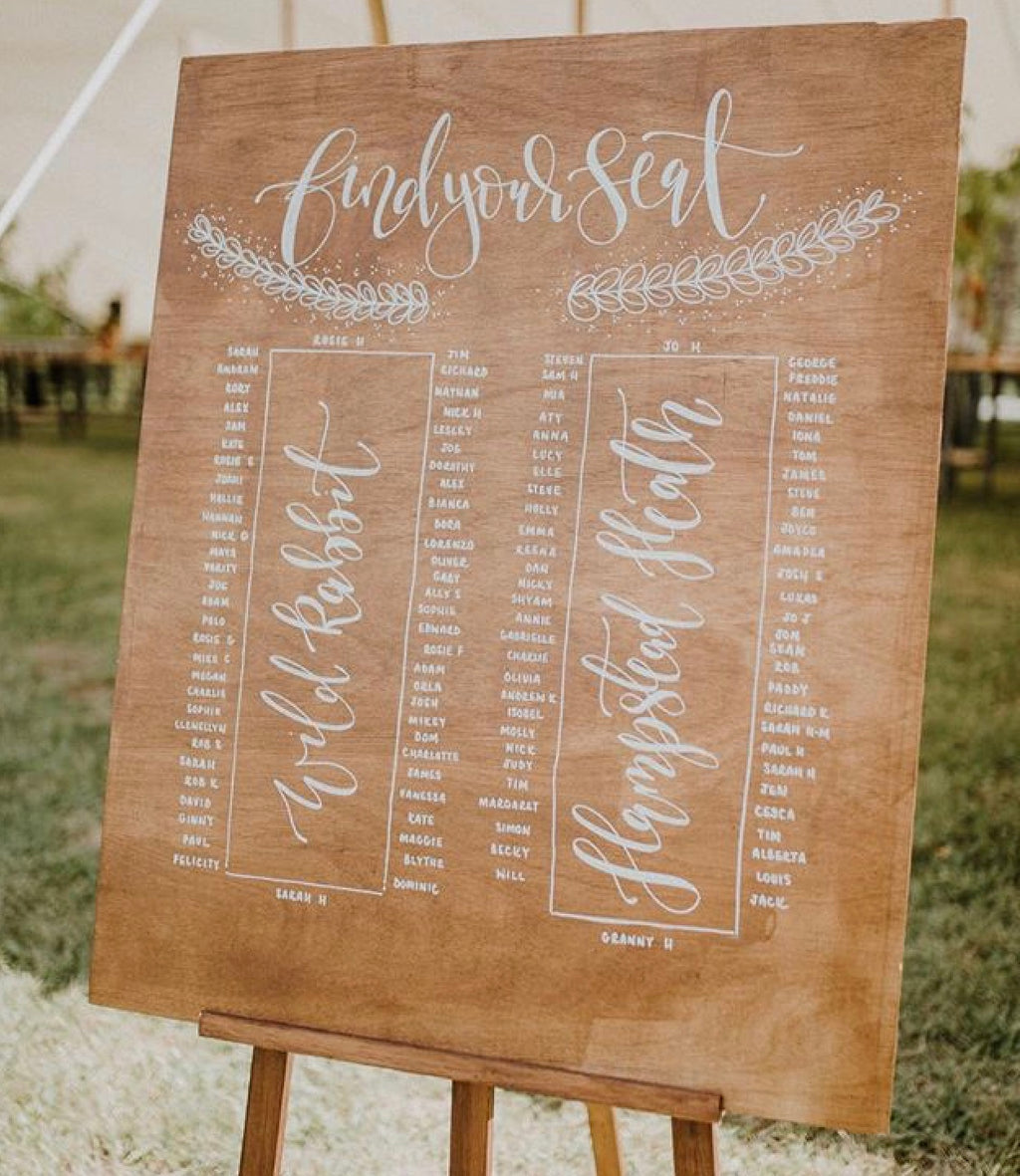 Large Personalised WoodStain Table Plan