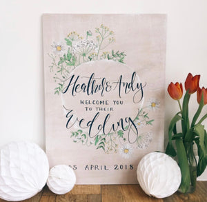 Personalised Whitewash SpringFlowers Welcome Sign