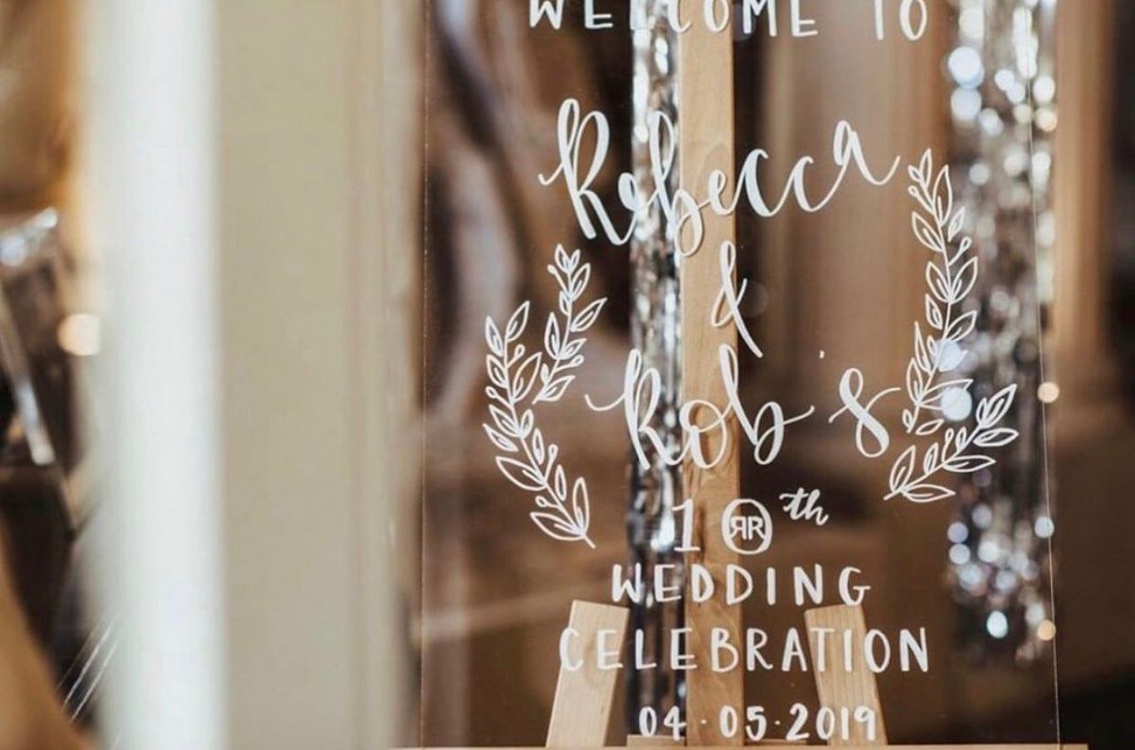 Clear Perspex Welcome Sign