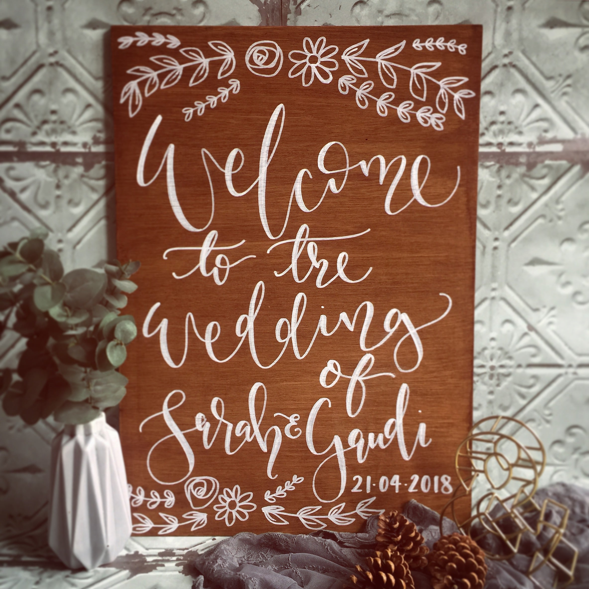 Personalised Wedding Wooden Welcome Sign