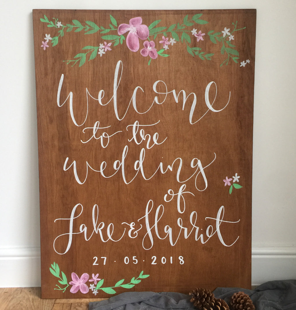 Large Welcome Wooden Sign