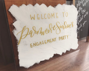 White Brushed Perspex Welcome Sign