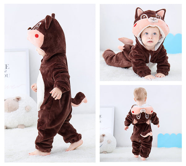 Cute Animal Flannel Baby Rompers