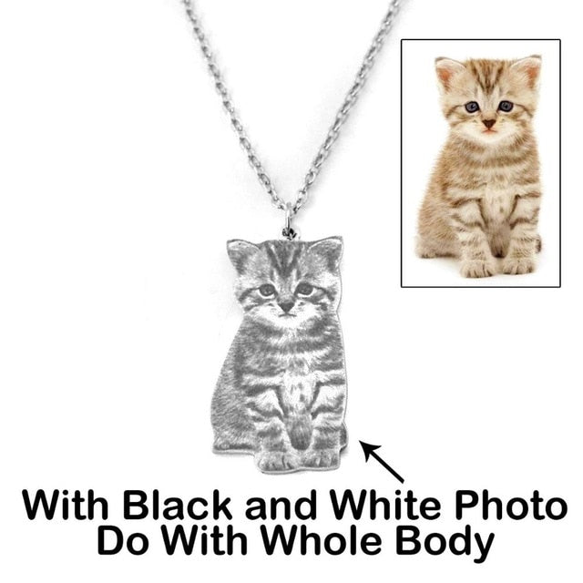 Custom Pet Photo Necklace  with Engraved Name - Pets Utopia