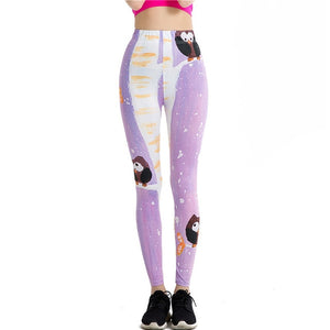 Cartoon Owl Print Leggings - Pets Utopia