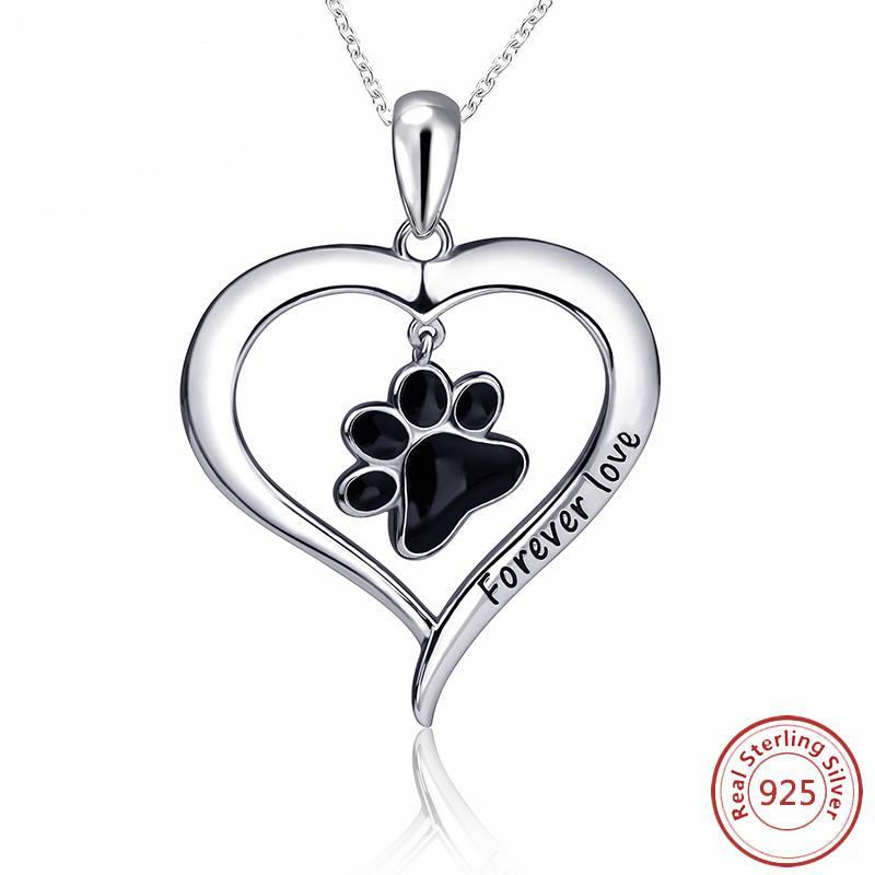 Silver Dog Paw Love Necklace & Pendant - Pets Utopia