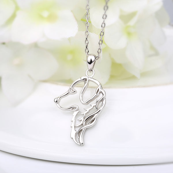 Cute Silver Golden Retriever Pendant & Necklace - Pets Utopia