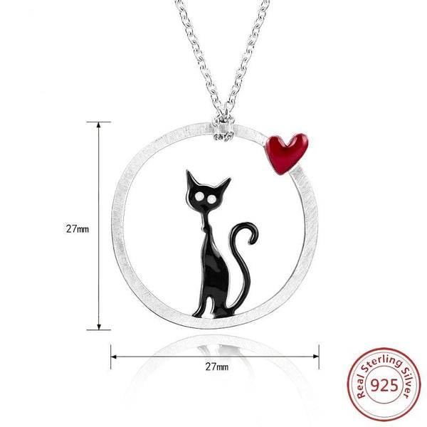 Silver Lovely Kitty Love Pendant & Necklace - Pets Utopia