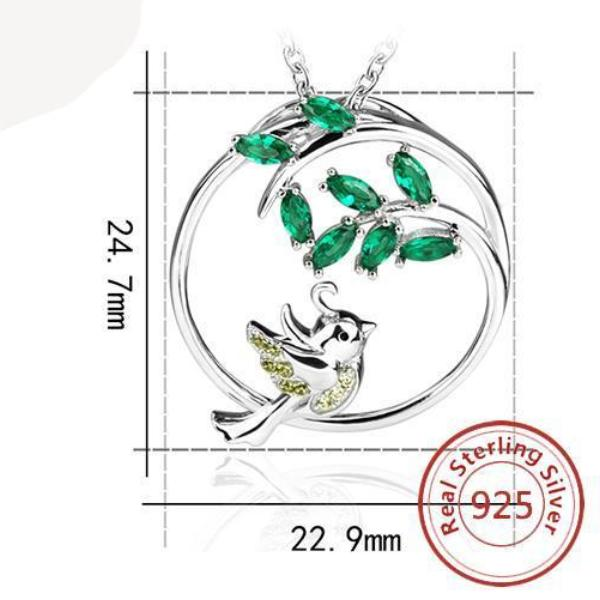 Silver Bird and Tree Pendant Necklace - Pets Utopia