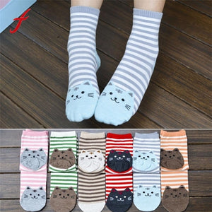Cute Cartoon Cat Striped Socks - Pets Utopia
