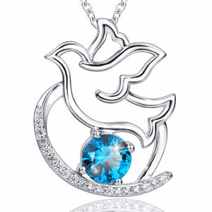 Silver The Dove of Peace Pendant Necklace - Pets Utopia