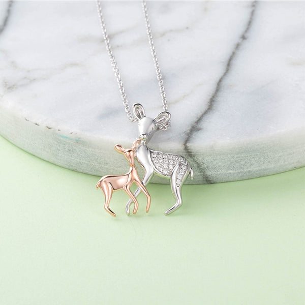 Silver Charming Deer Mother & Daughter Love Pendant Necklace - Pets Utopia