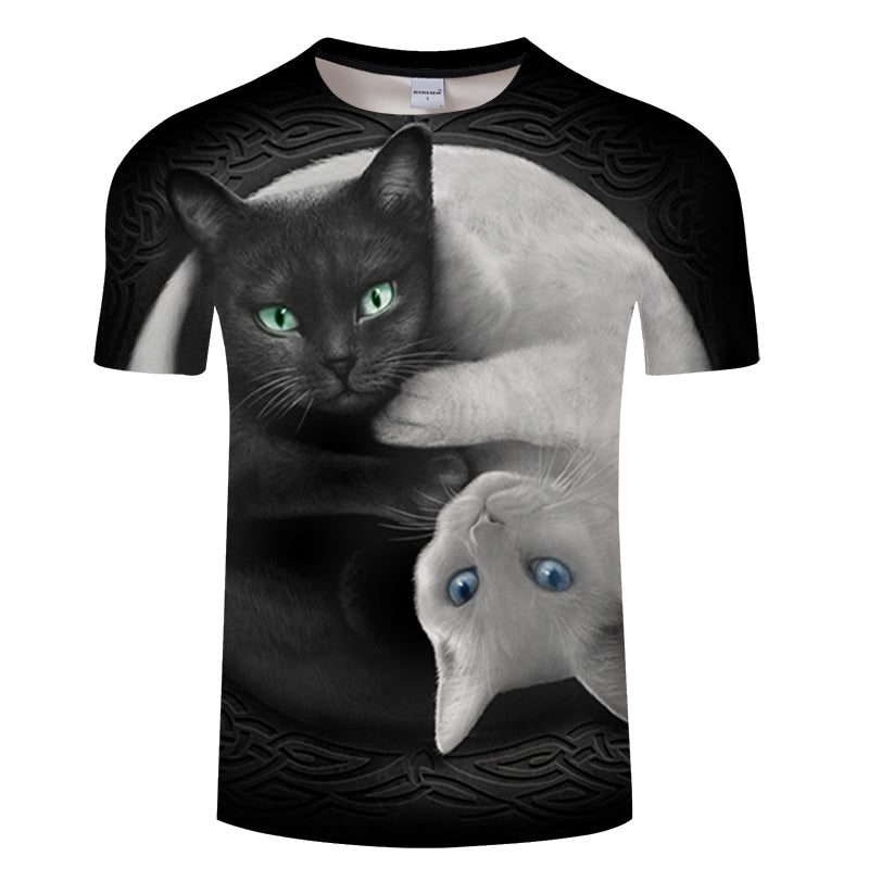 Black and White Cats 3D T-Shirt - Pets Utopia