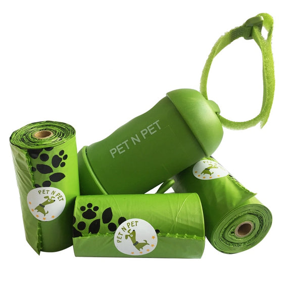 Earth-Friendly Dogs Poop Bags,3 Rolls with 1 Dispenser - Pets Utopia