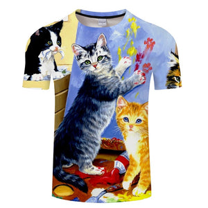 Double Cat Print 3D T-Shirt - Pets Utopia