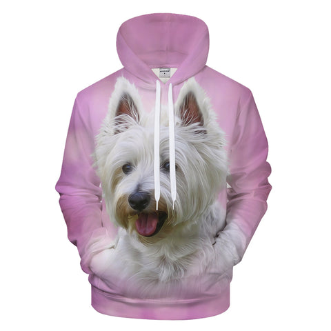 Cute 3D White Dog Hoodie - Pets Utopia