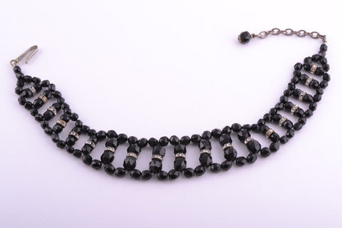 French Jet 1930's Choker Necklace With White Paste