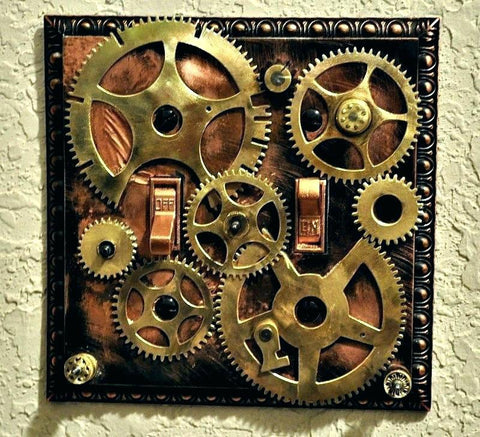 steampunk wall art example. lots of brass gears and 2 on off switch.