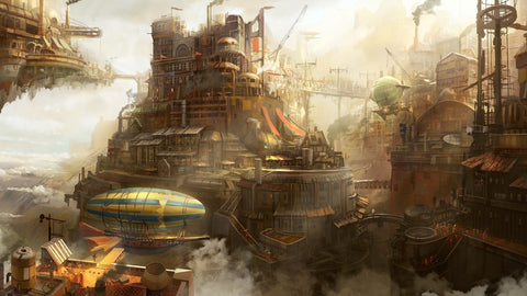 steampunk city reflecting the time period of steampunk