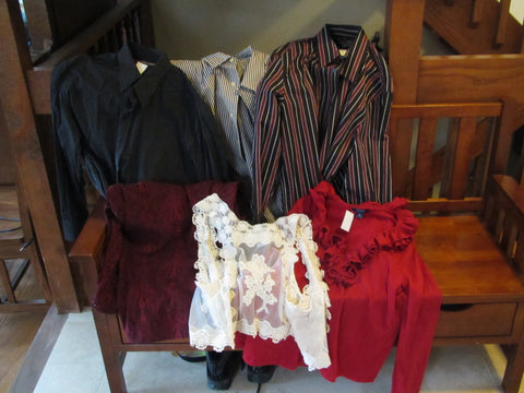 steampunk clothing and items in a thrift store