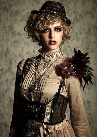 steampunk fashion. A girl wearing a steampunk fashion dress and hat
