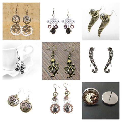 steampunk earring collection showcase
