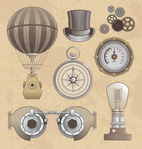 steampunk clip art. flying baloon, hat, gears, compas, pocket watch, light bulb, steampunk googles.