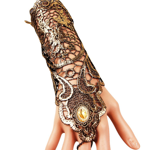 Steampunk Long Lace Fingerless Gloves