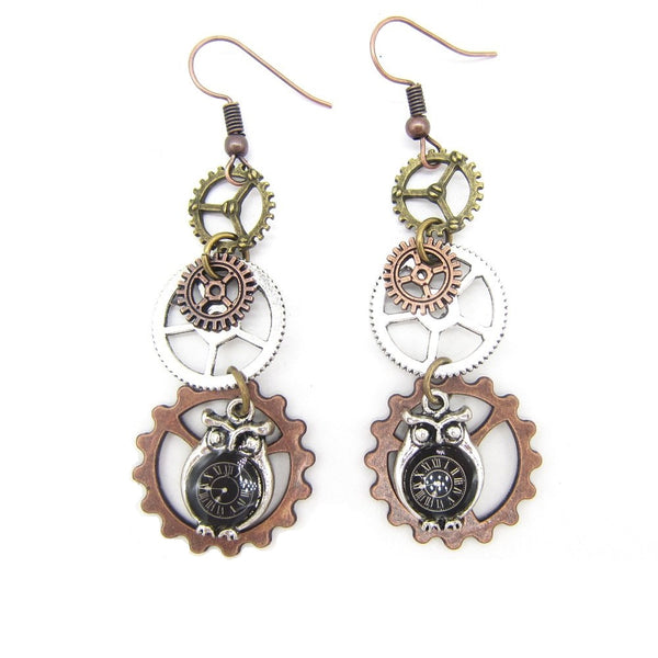 Owl With Clock Steampunk Earrings