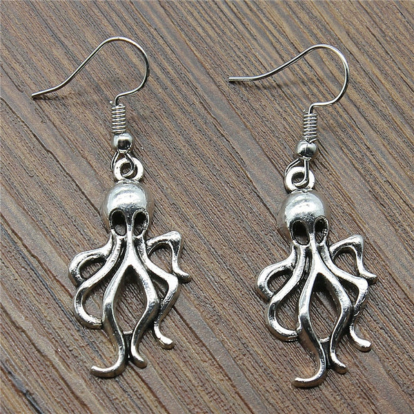 Octopus Steampunk Drop Earrings
