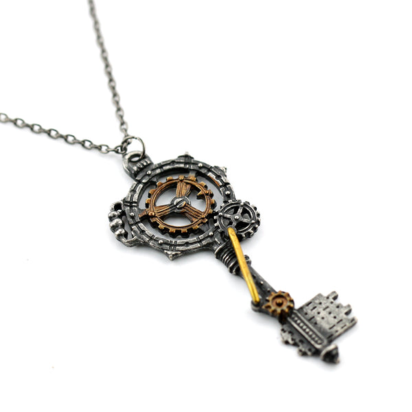 Steampunk Key With Gears Necklace