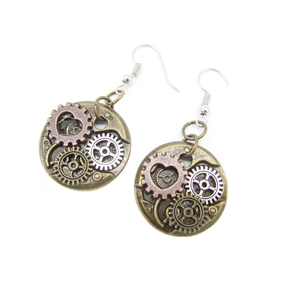 Bronze Steampunk Round Earrings With Gears