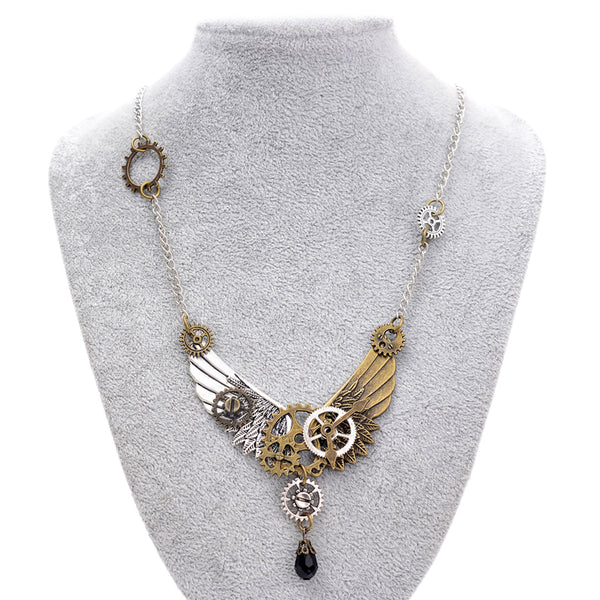 Steampunk Black Crystal Necklace