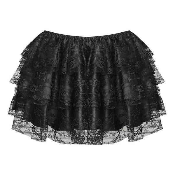 Steampunk Lace Mini Skirt Layered With Elastic Waistband