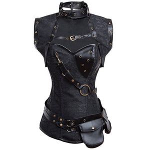 Buy Steampunk Strap Corset With Bag & Vest Online