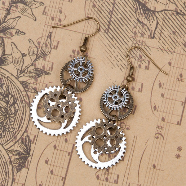 Steampunk Earrings With Antique Bronze Gears