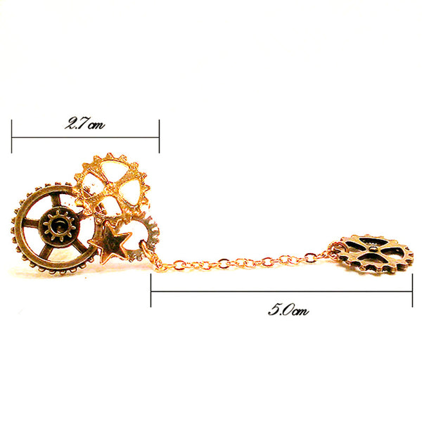 Steampunk Drop Earrings / Brooch With Gears