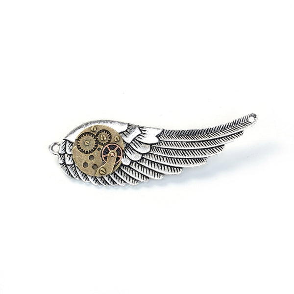 Steampunk Pin Brooch Wing With Gears