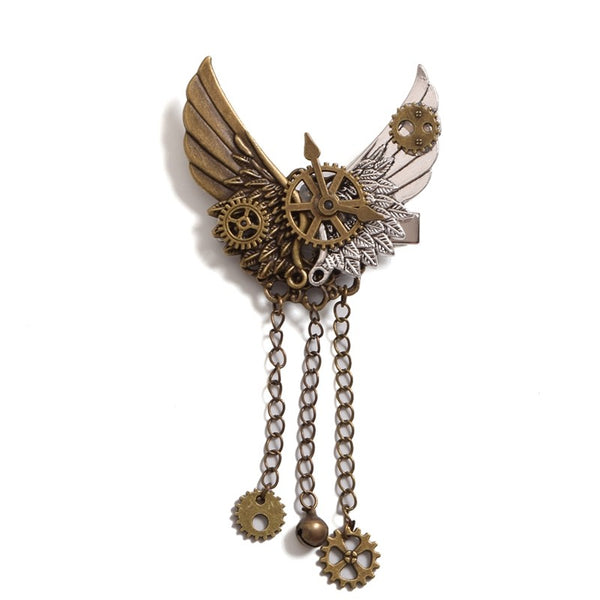 Steampunk Hair Clip Gears & Wings