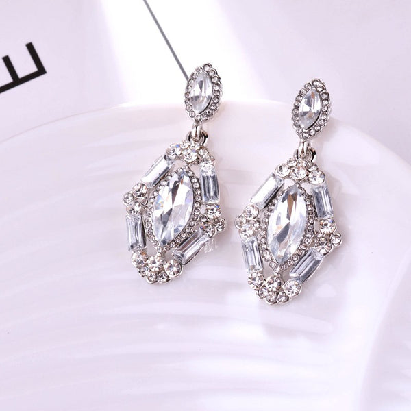 Victorian Princess Earrings With Full Rhinestone Crystal