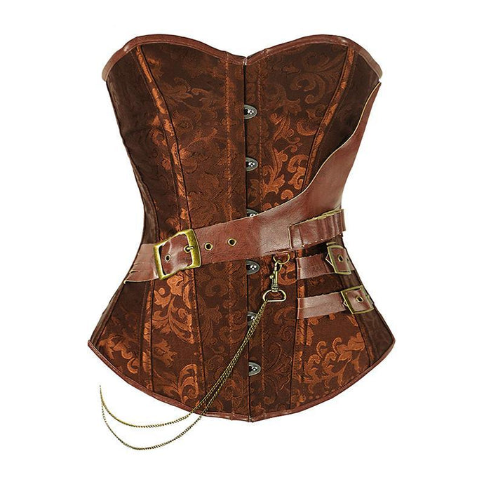 Buy Steampunk Corset With Chain Buckles (Brown/Black) Online